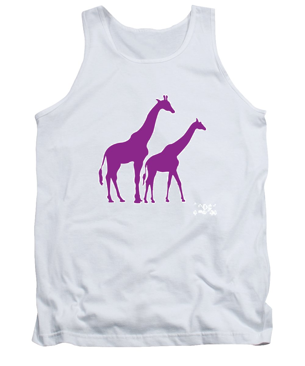 Graphic Art Tank Top featuring the digital art Giraffe In Purple And White by Jackie Farnsworth