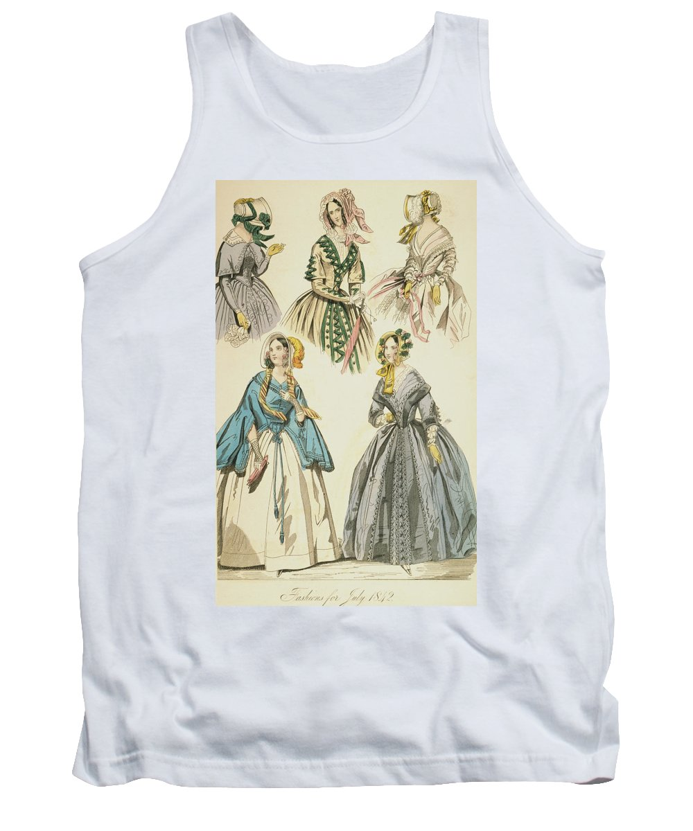 1842 Tank Top featuring the drawing Godey's Lady's Book, 1842 by Granger
