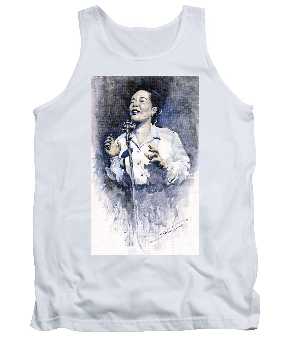 Watercolor Tank Top featuring the painting Jazz Billie Holiday Lady Sings The Blues by Yuriy Shevchuk