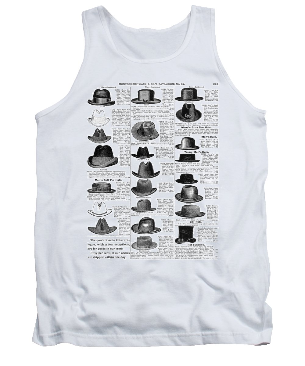 1895 Tank Top featuring the painting Men's Hats, 1895 by Granger