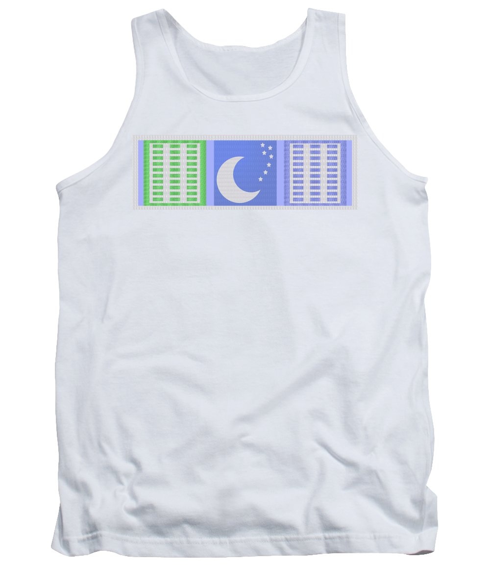 Moon Tank Top featuring the painting Moon And Stars With Crystal Stone Healing Energy Plates By Side Navinjoshi Rights Managed Images For by Navin Joshi