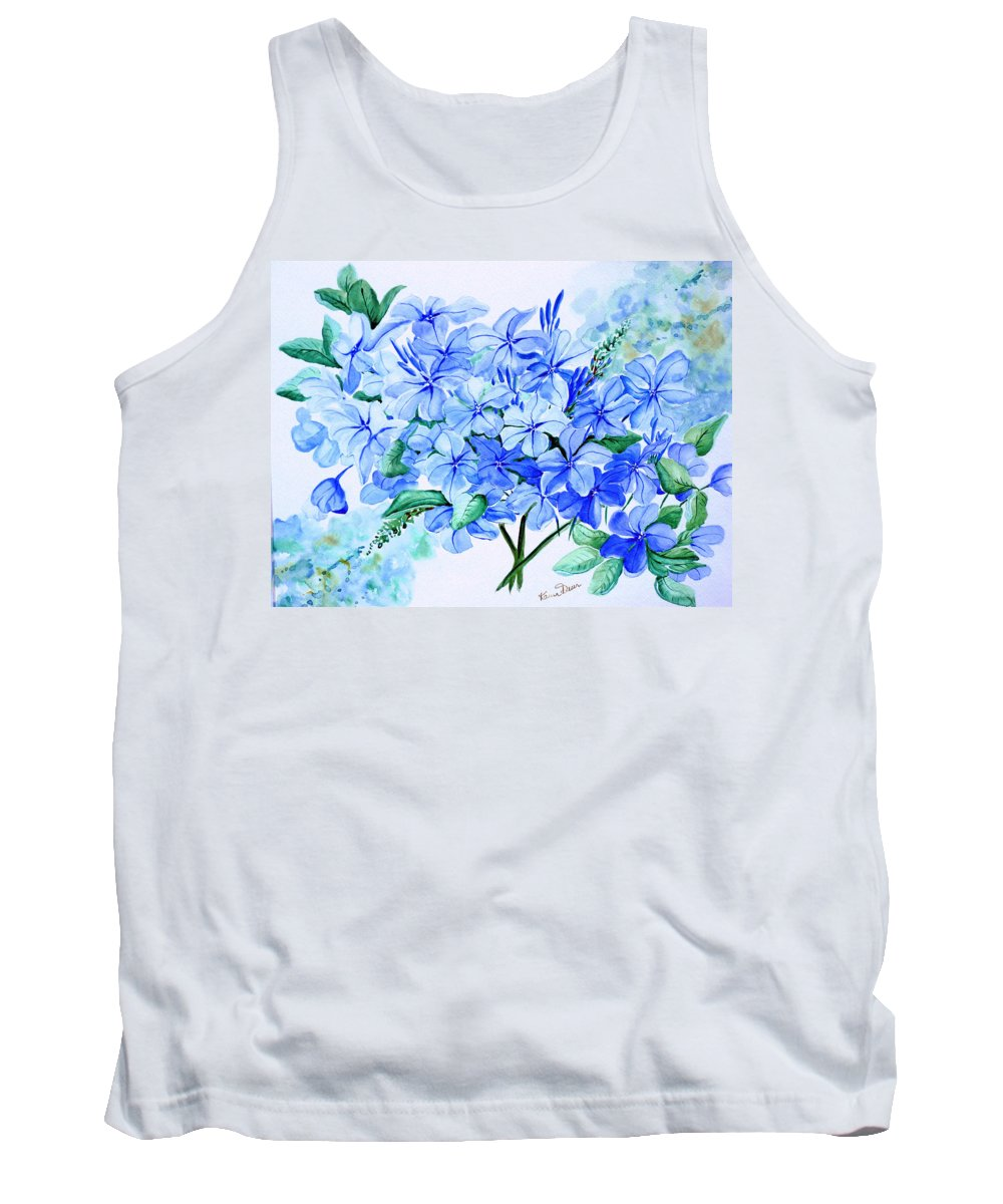 Blue Plumbago Tank Top featuring the painting Plumbago by Karin Dawn Kelshall- Best