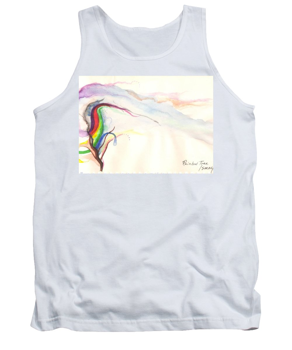 Rainbow Tank Top featuring the painting Rainbow Tree by Rod Ismay