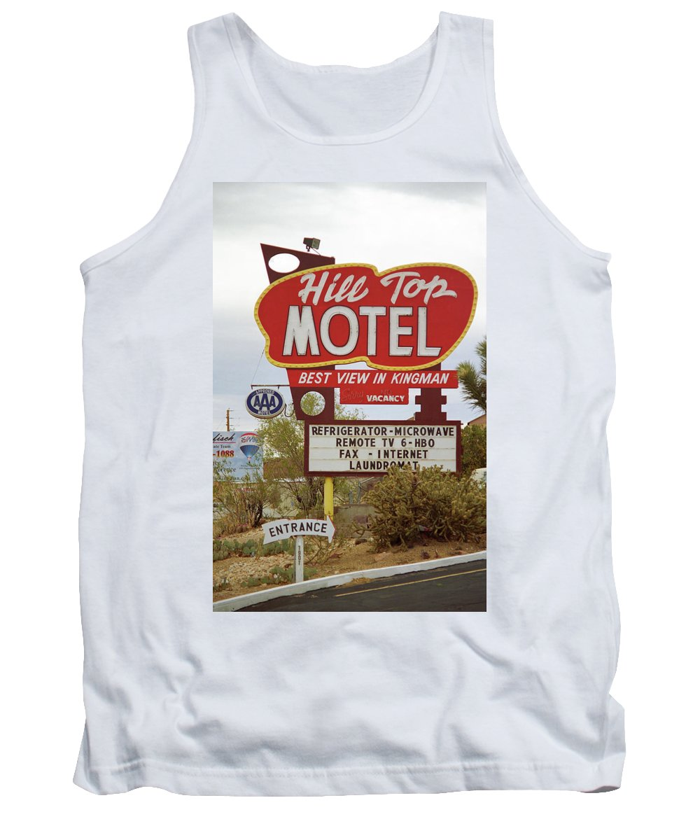 66 Tank Top featuring the photograph Route 66 - Hill Top Motel by Frank Romeo