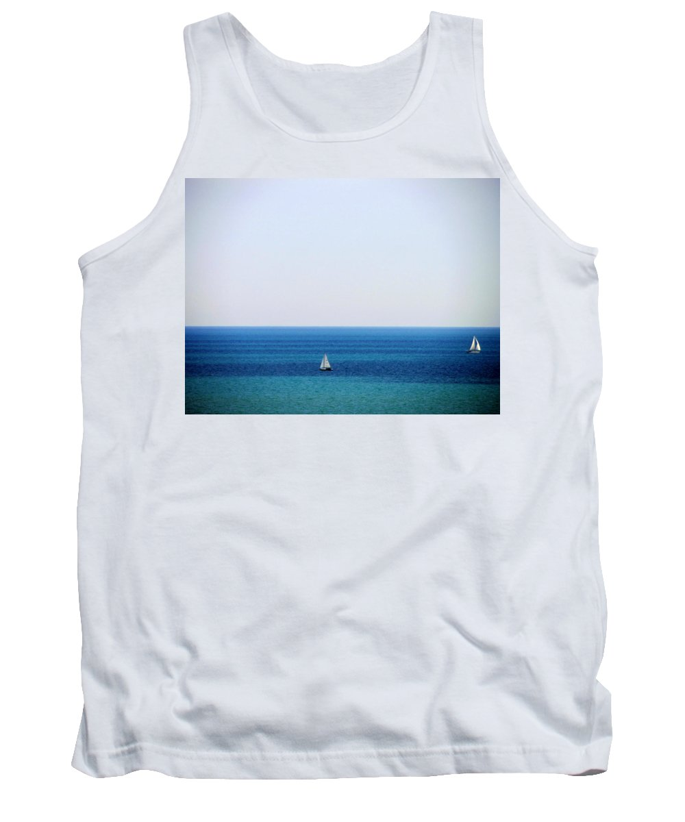 Sailboat Tank Top featuring the photograph 2 Sailboats In The Distance by Anita Burgermeister