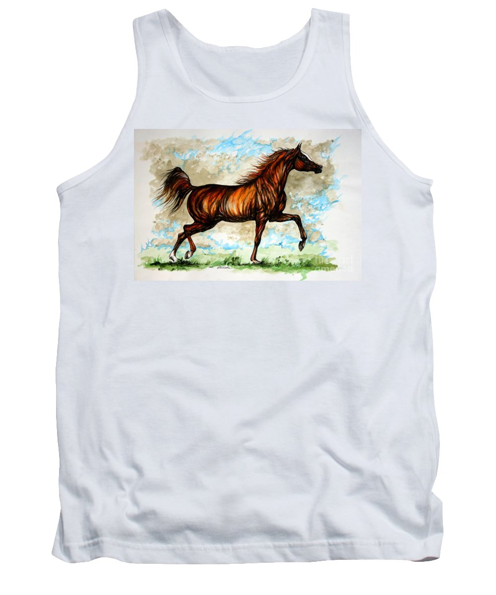 Horse Tank Top featuring the painting The Chestnut Arabian Horse by Angel Ciesniarska