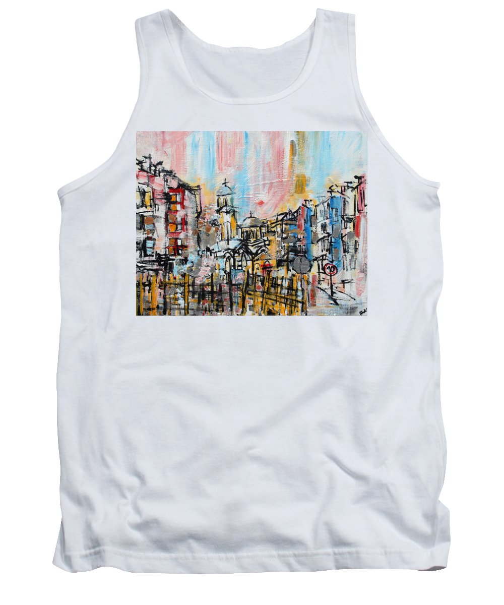 Pastel Tank Top featuring the painting 2014 23 City Street With Church At Sunset Srpsko Sarajevo by Alyse Radenovic