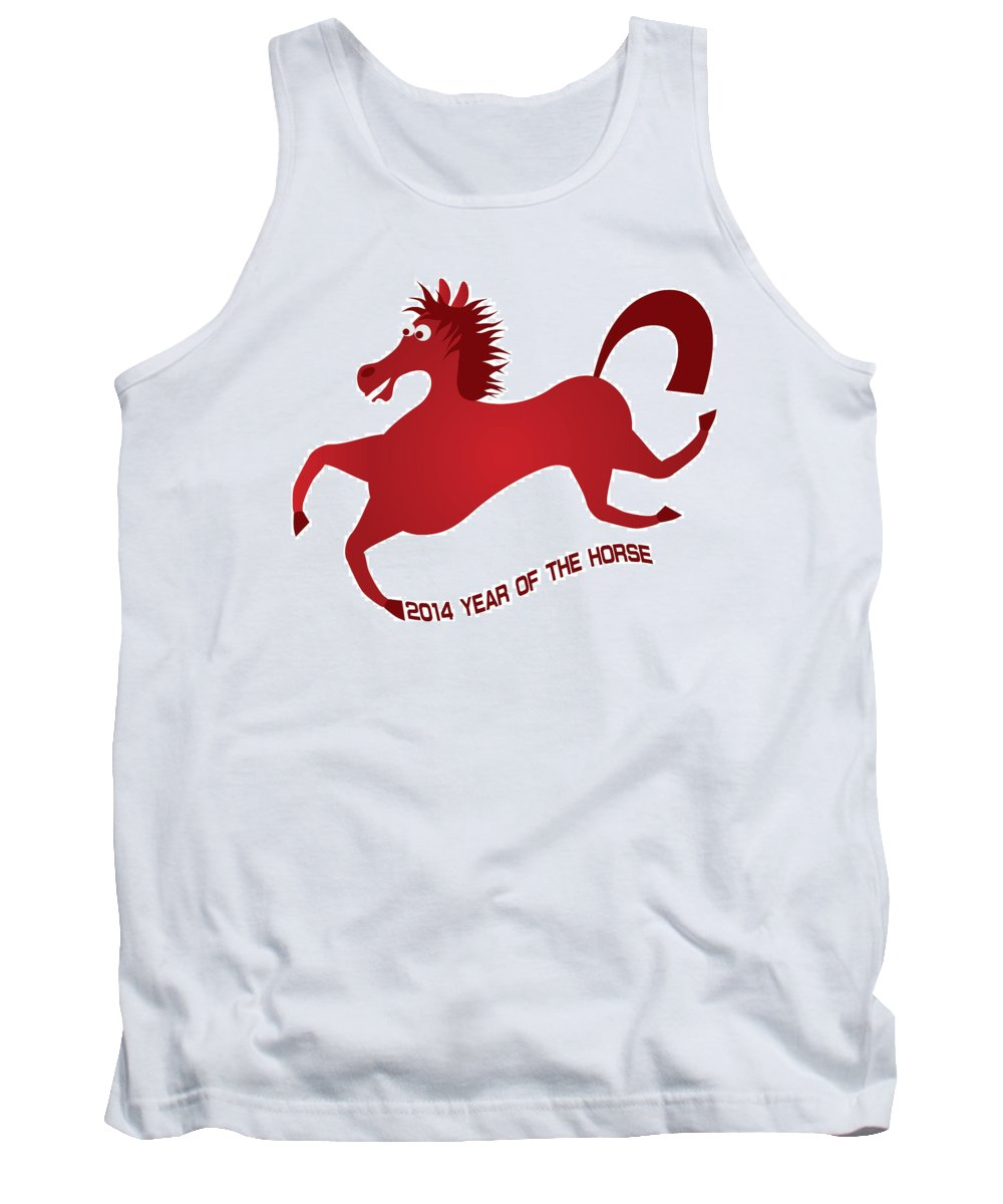 2014 Tank Top featuring the photograph 2014 Abstract Red Chinese Horse Illustration by Jit Lim