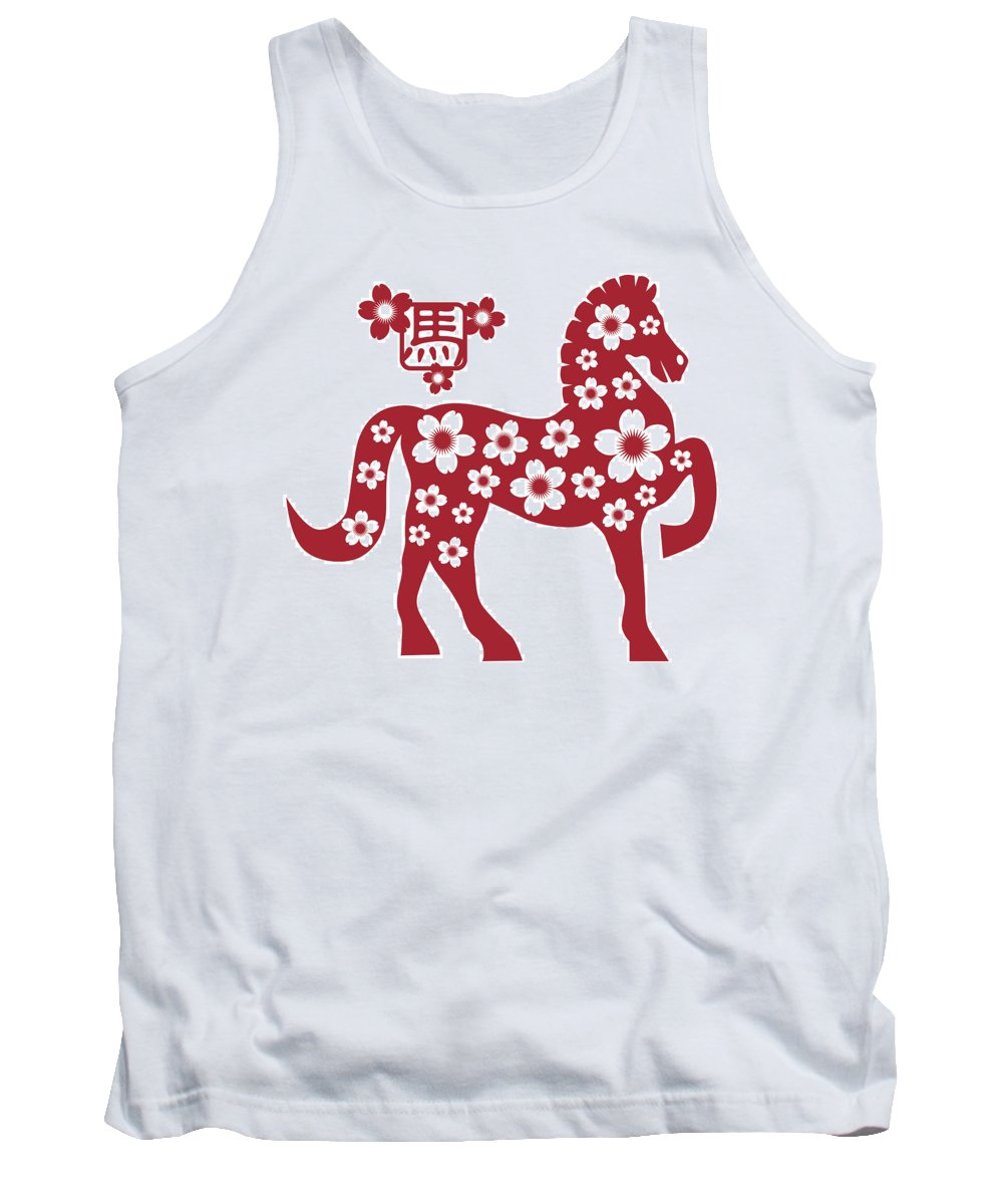 Chinese Tank Top featuring the photograph 2014 Chinese Horse With Flower Motif Illusrtation by Jit Lim