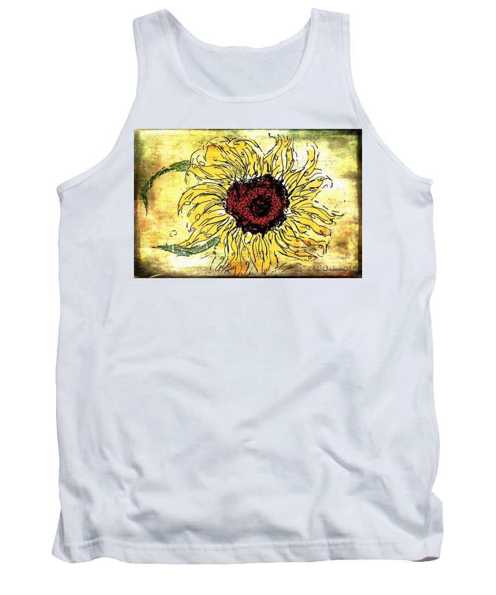 Floral Art Tank Top featuring the painting 24 Kt Sunflower - Barbara Chichester by Barbara Chichester