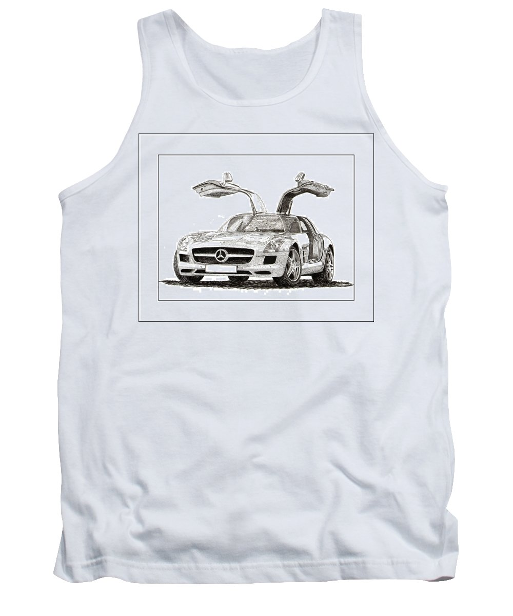 A Pen & Ink Drawing Of A 2010 Mercedes Benz Sls Gull-wing By Jack Pumphrey Tank Top featuring the drawing Gull Wing Mercedes Benz S L S Gull-wing by Jack Pumphrey