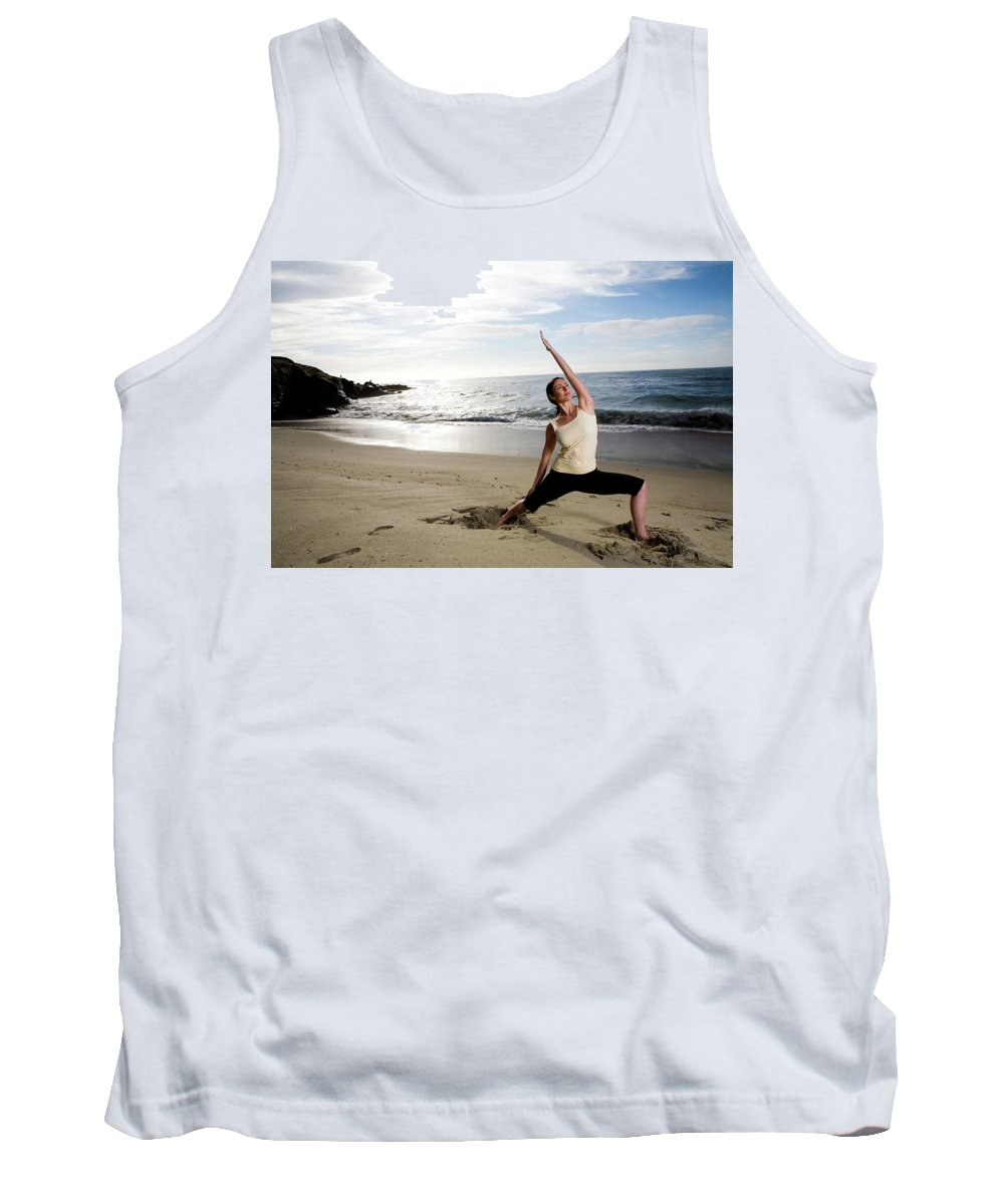 30-40 Years Old Tank Top featuring the photograph A Women At The Beach Performing Yoga by Jay Reilly