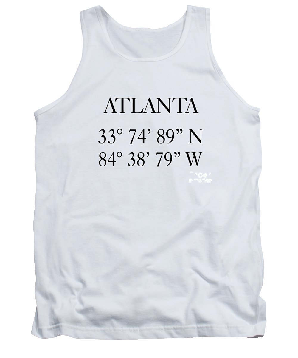 Atlanta Tank Top featuring the digital art Atlanta Coordinates by Voros Edit