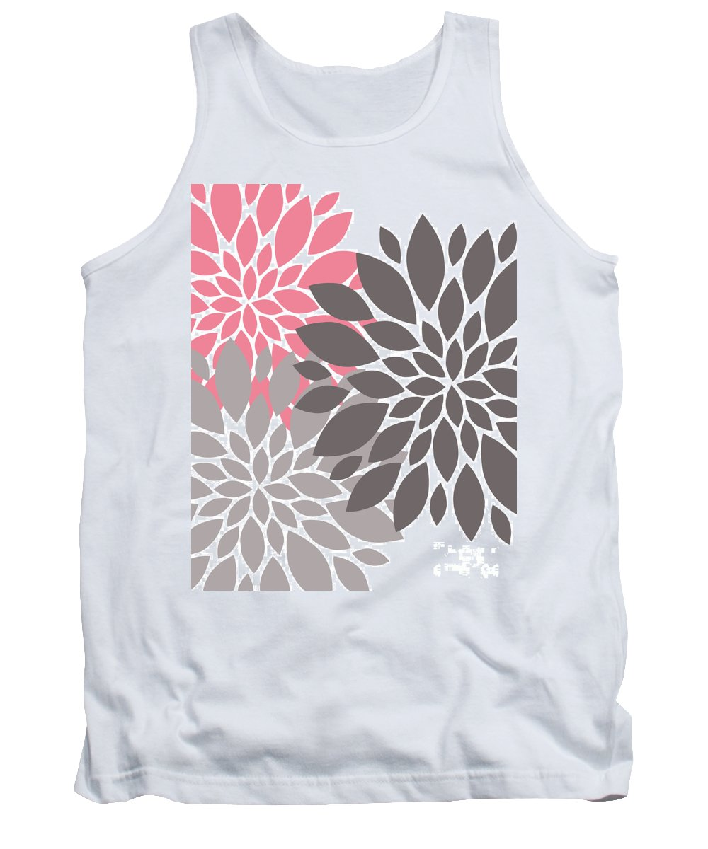 Pink Tank Top featuring the digital art Pink Gray Peony Flowers by Voros Edit