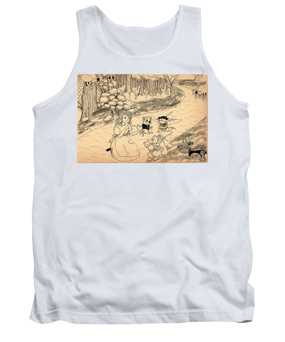 Wurtherington Tank Top featuring the drawing Tammy Meets Cedric The Mongoose by Reynold Jay