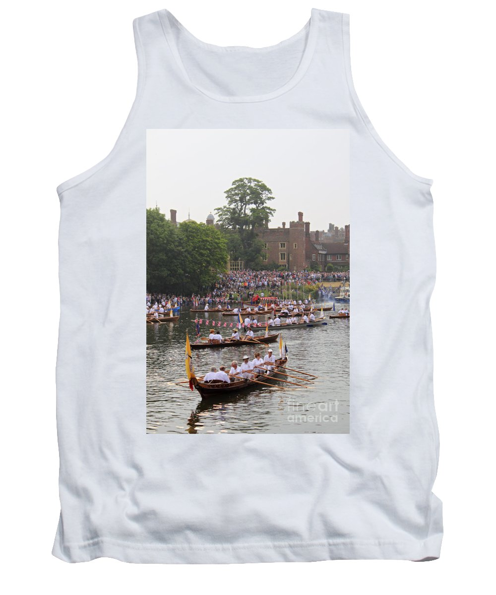The Olympic Torch Boat Gloriana Barge Hampton Court Tank Top featuring the photograph The Olympic Torch Leaves Hampton Court On The Final Leg Of Its J by Julia Gavin