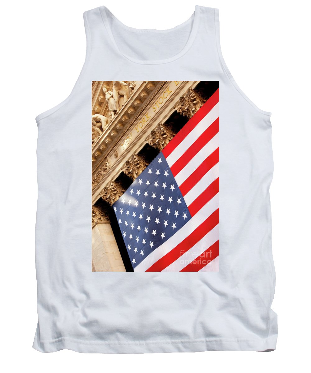 American Tank Top featuring the photograph Wall Street Flag by Brian Jannsen