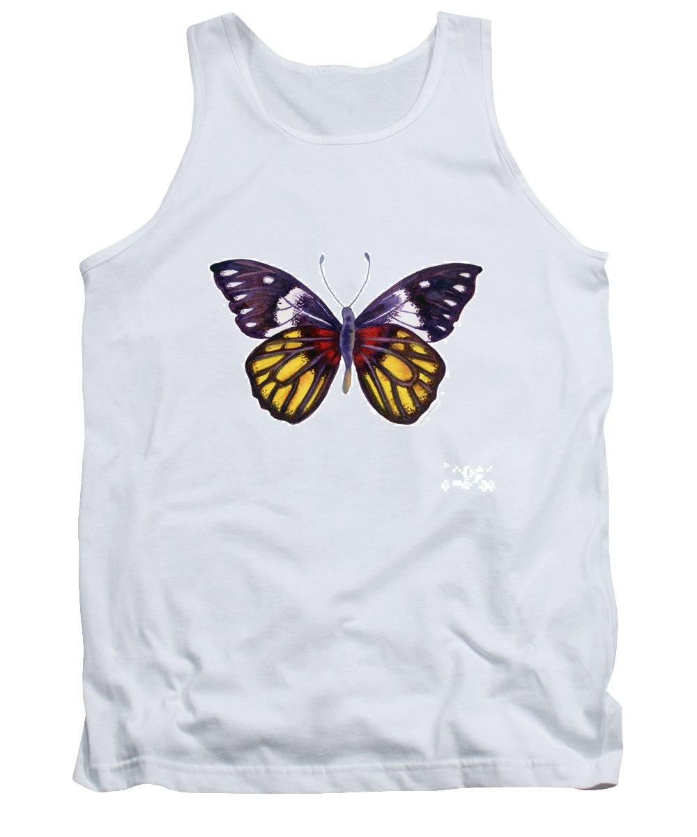 Delias Tank Top featuring the painting 31 Delias Henningia Butterfly by Amy Kirkpatrick