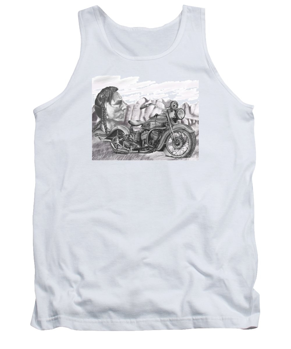 Motorcycle Tank Top featuring the drawing 39 Scout by Terry Frederick