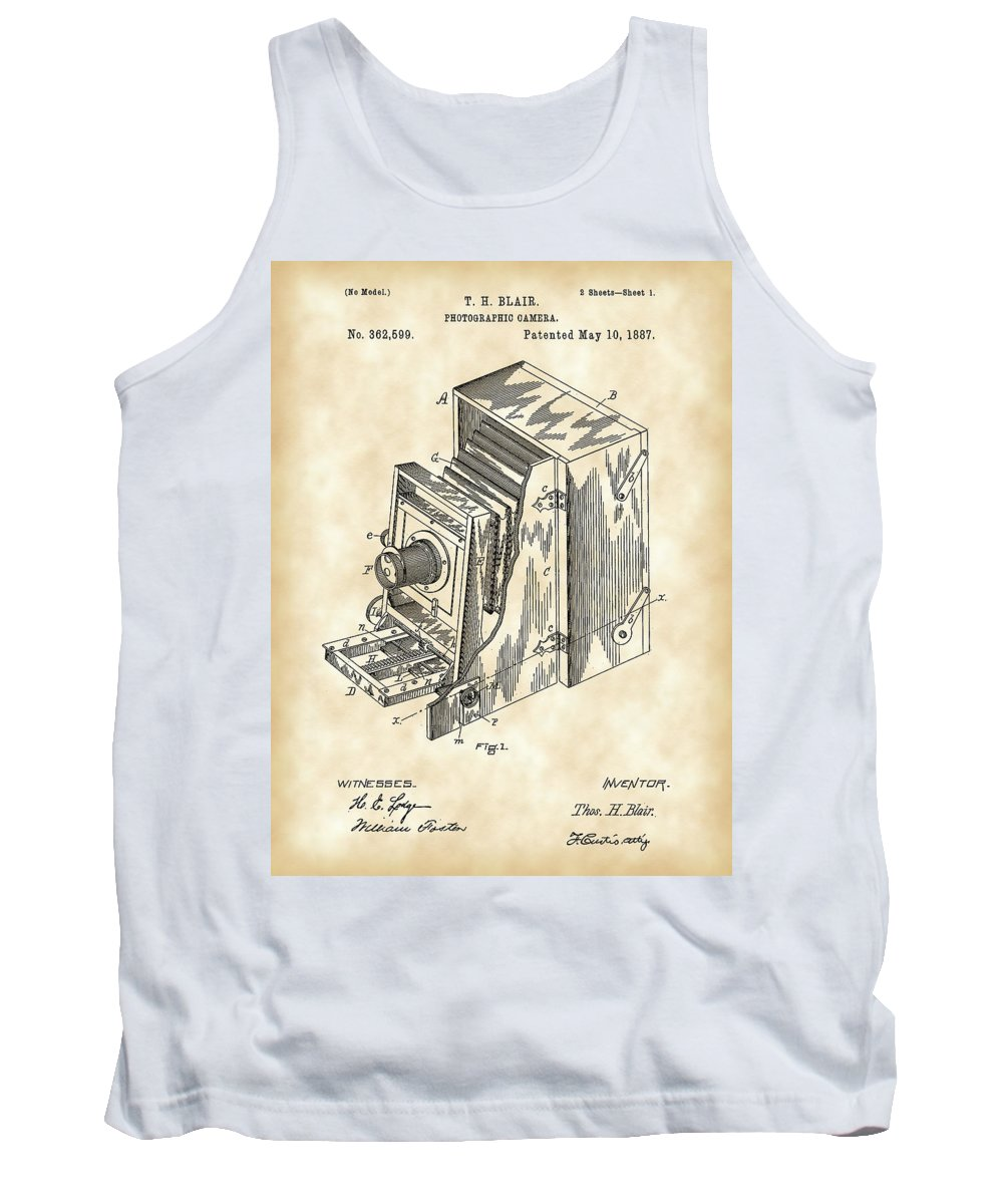 Camera Tank Top featuring the digital art Camera Patent 1887 - Vintage by Stephen Younts