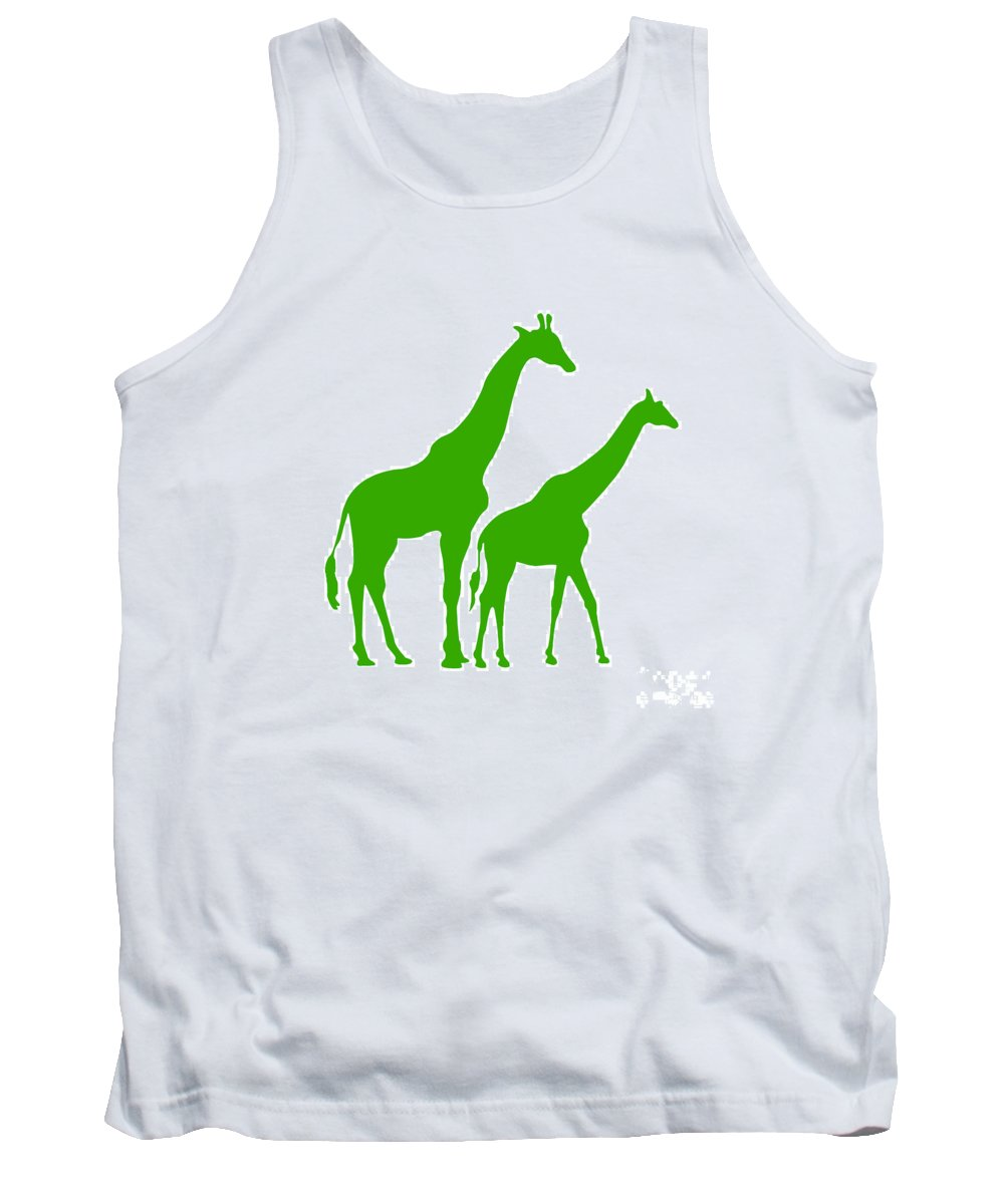 Graphic Art Tank Top featuring the photograph Giraffe In Green And White by Jackie Farnsworth