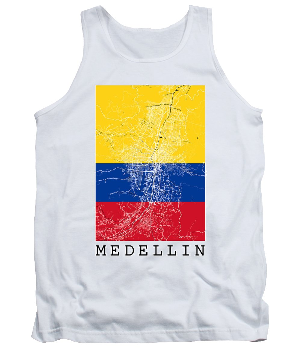 Road Map Tank Top featuring the digital art Medellin Street Map - Medellin Colombia Road Map Art On Colored by Jurq Studio