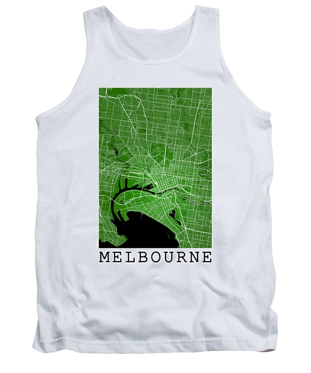 Road Map Tank Top featuring the digital art Melbourne Street Map - Melbourne Australia Road Map Art On Color by Jurq Studio