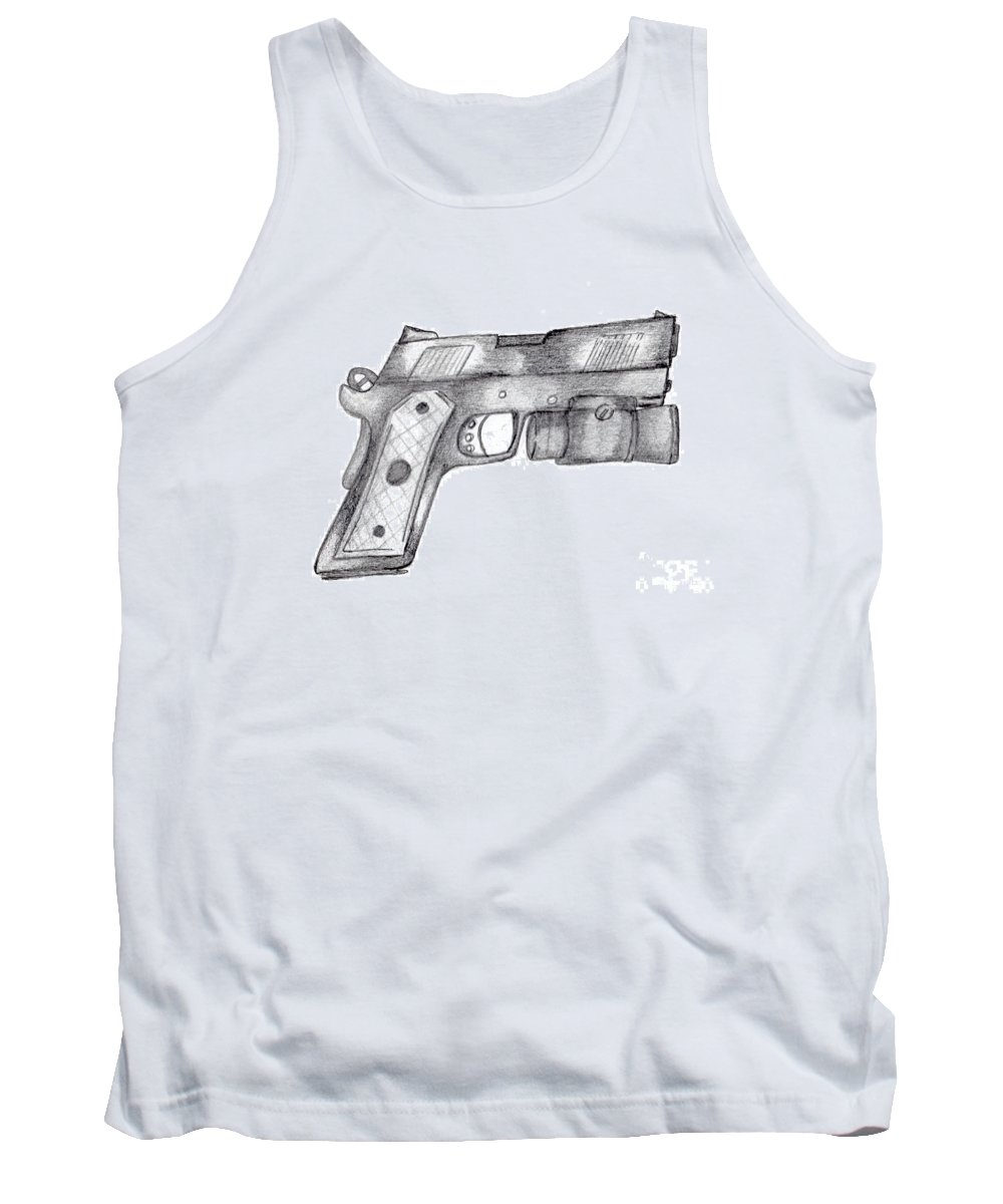 45 Caliber Tank Top featuring the drawing 45 Acp by Minding My Visions by Adri and Ray