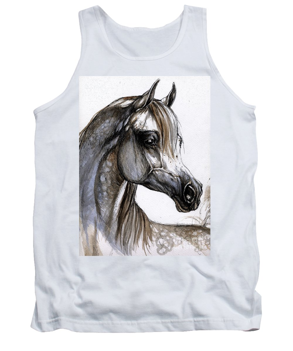 Horse Tank Top featuring the painting Arabian Horse by Angel Ciesniarska