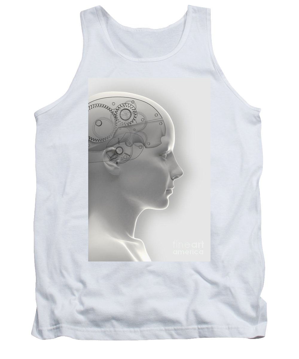 Gray Background Tank Top featuring the photograph Thought Mechanism by Science Picture Co