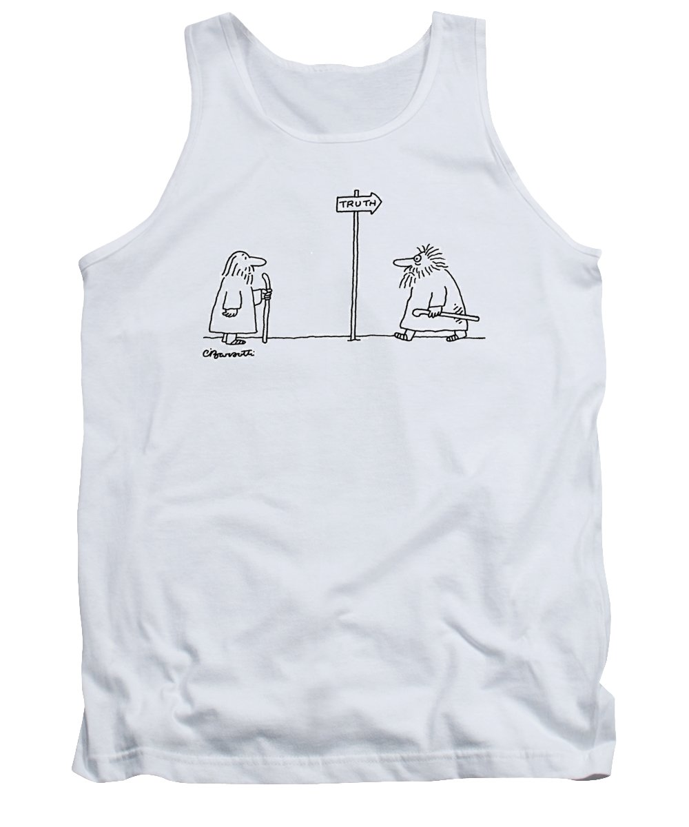 Problems Tank Top featuring the drawing Truth by Charles Barsotti