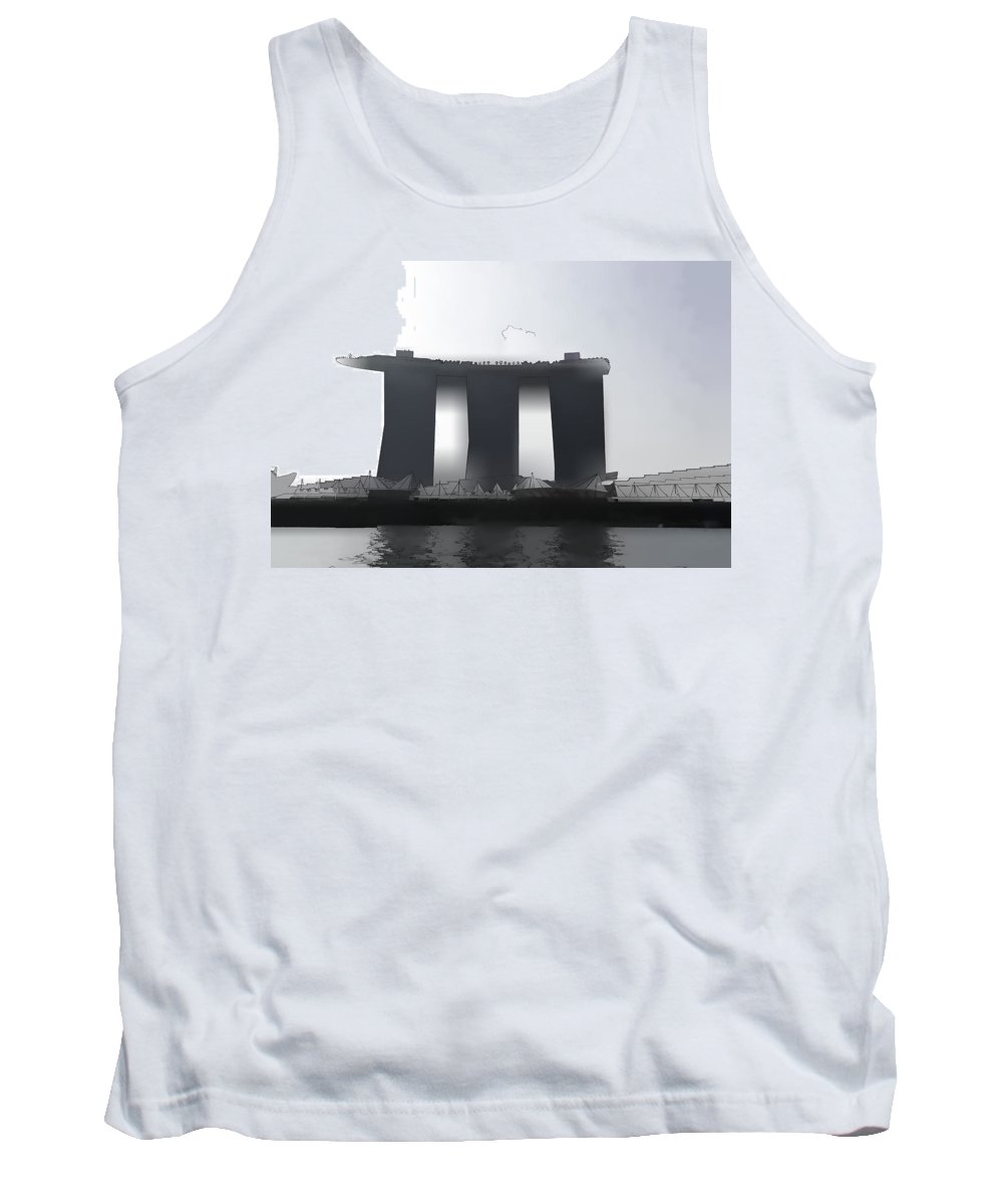 3 Towers Tank Top featuring the photograph View Of The Towers Of The Marina Bay Sands In Singapore by Ashish Agarwal