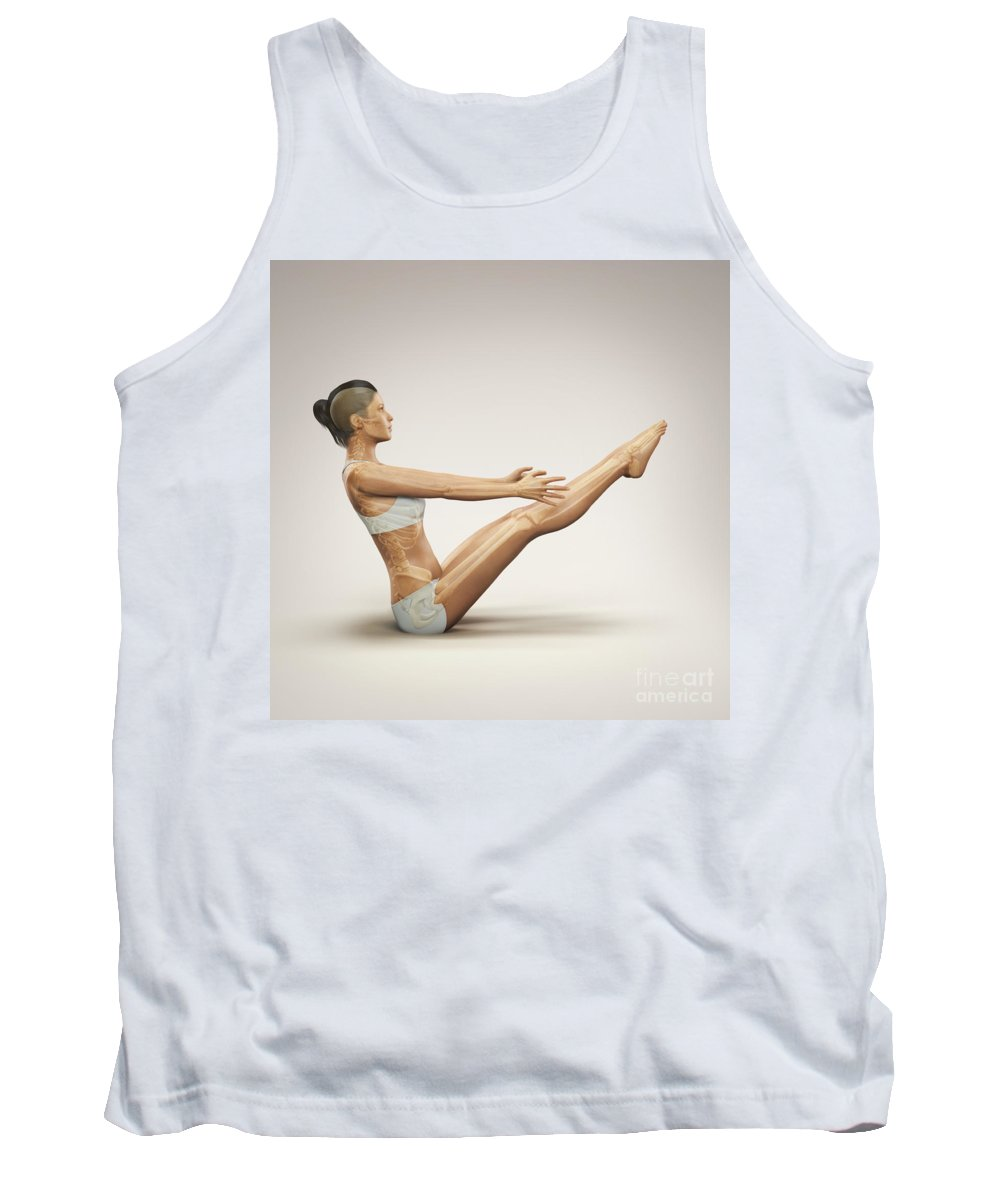 Digitally Generated Image Tank Top featuring the photograph Yoga Boat Pose by Science Picture Co