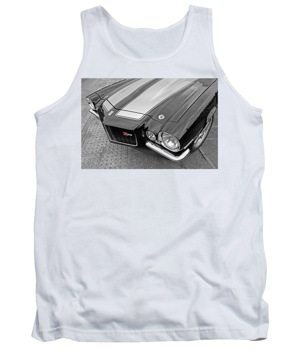 Camaro Tank Top featuring the photograph 71 Camaro Z28 In Black And White by Gill Billington
