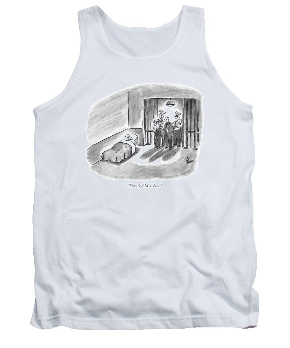 Crime Prisons Executions Word Play  (prisoner Wakes To Find The Execution Crew At The Door Of His Cell.) 120784 Fco Frank Cotham Tank Top featuring the drawing Your 5 A.m. Is Here by Frank Cotham
