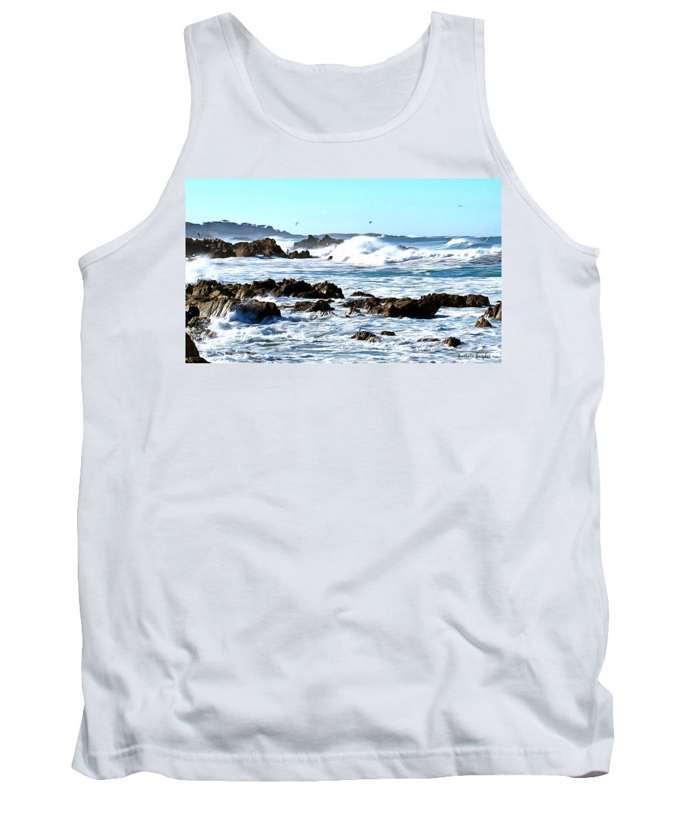 Abarbara Snyder Tank Top featuring the painting Seascape And Sea Gulls by Barbara Snyder