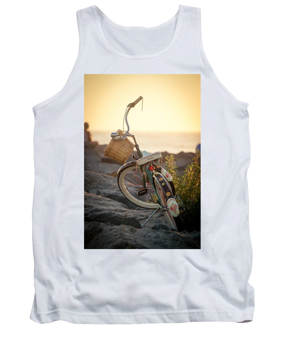 Beach Tank Top featuring the photograph A Bike And Chi by Peter Tellone