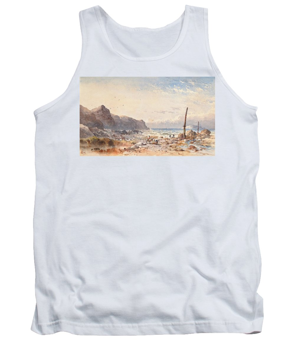 Breeze Tank Top featuring the painting A Breezy Day With Fisherfolk On The Foreshore by William Cook of Plymouth