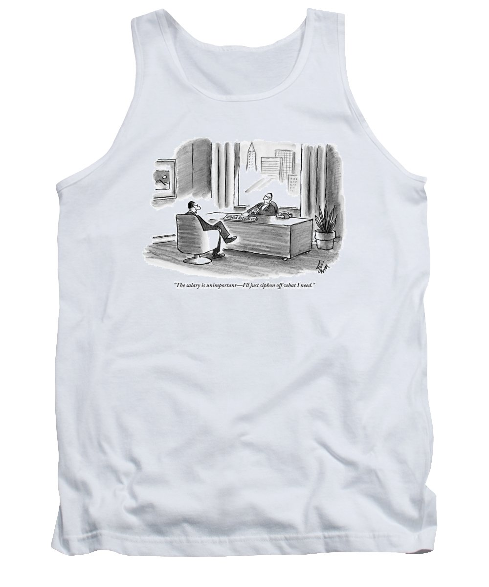 Business Tank Top featuring the drawing A Businessman Discusses His Salary With A Man by Frank Cotham