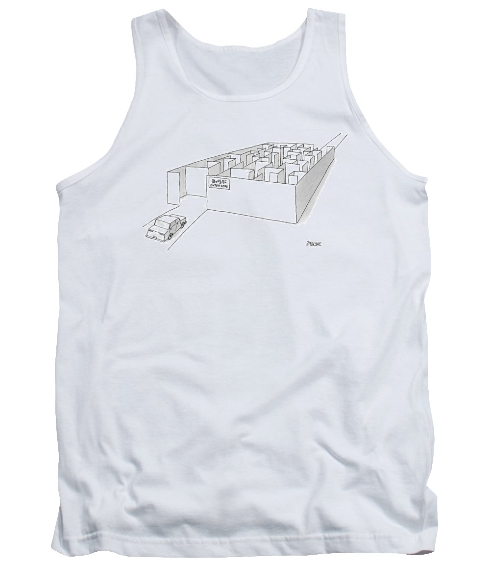 Dmv Tank Top featuring the drawing A Car Is Entering A Maze Labeled by Jack Ziegler