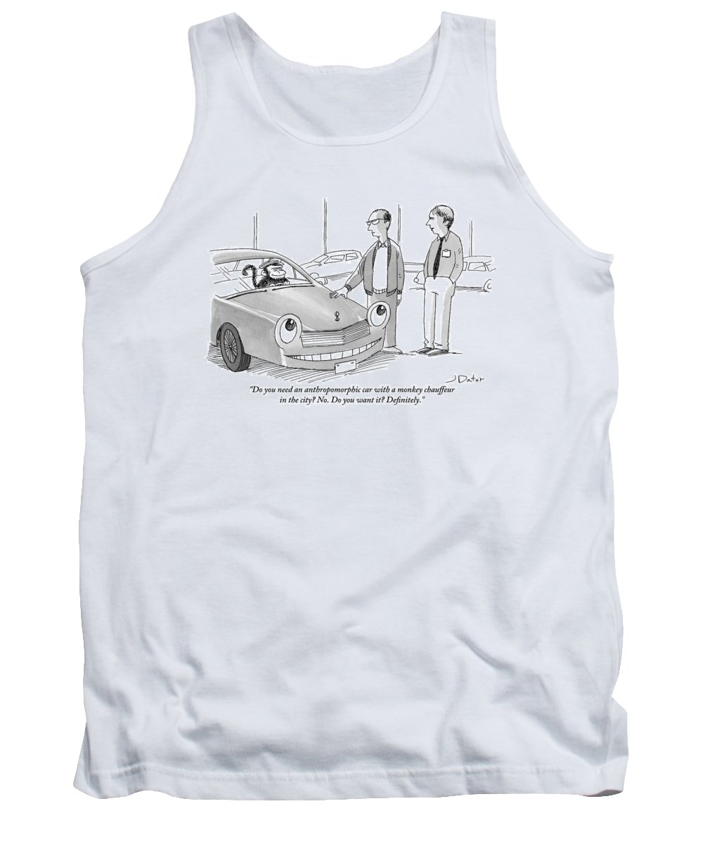 Automobiles Tank Top featuring the drawing A Car Salesman Gives A Pitch To A Prospective by Joe Dator