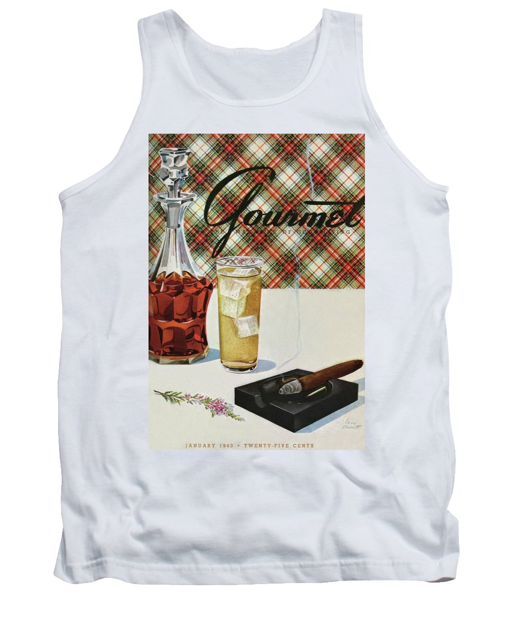 Illustration Tank Top featuring the photograph A Cigar In An Ashtray Beside A Drink And Decanter by Henry Stahlhut