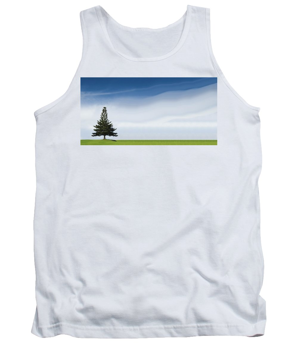 Cirrus Tank Top featuring the photograph A Coniferous Tree Standing Alone In A by Stuart Corlett