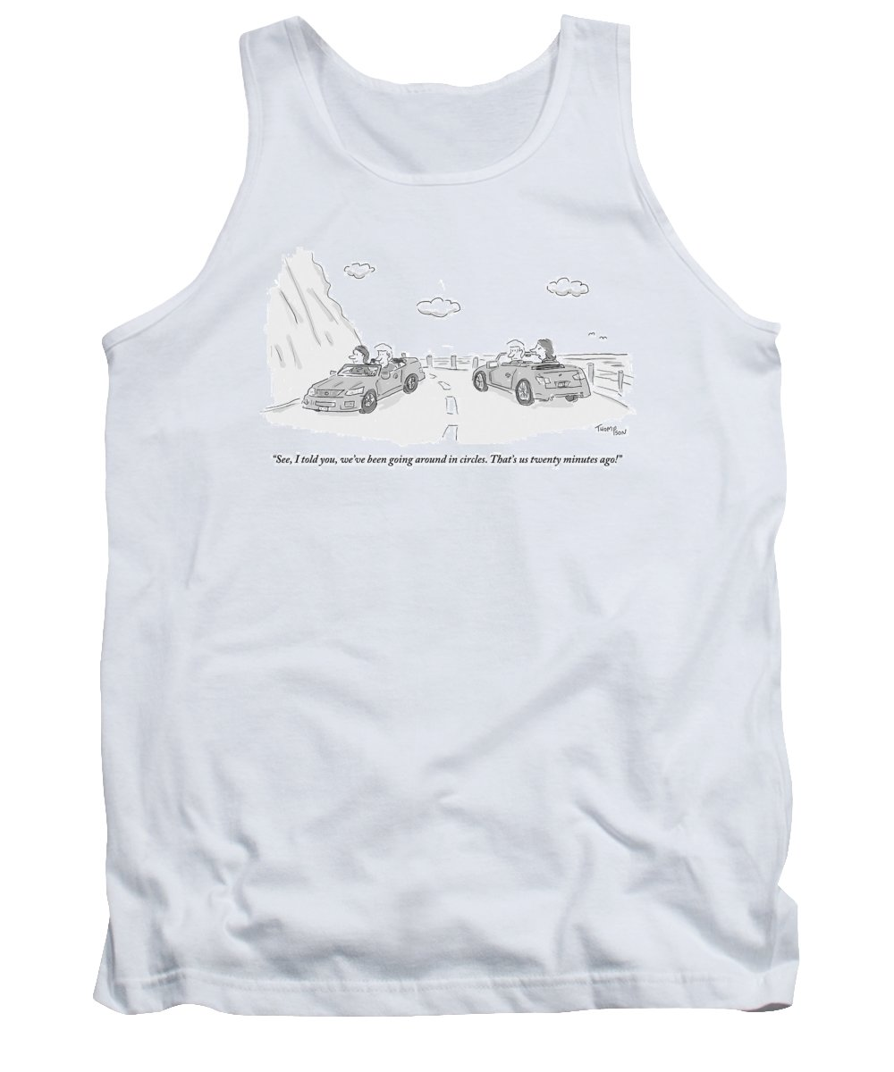 Directions Tank Top featuring the drawing A Couple Driving In A Car Are Speaking by Mark Thompson