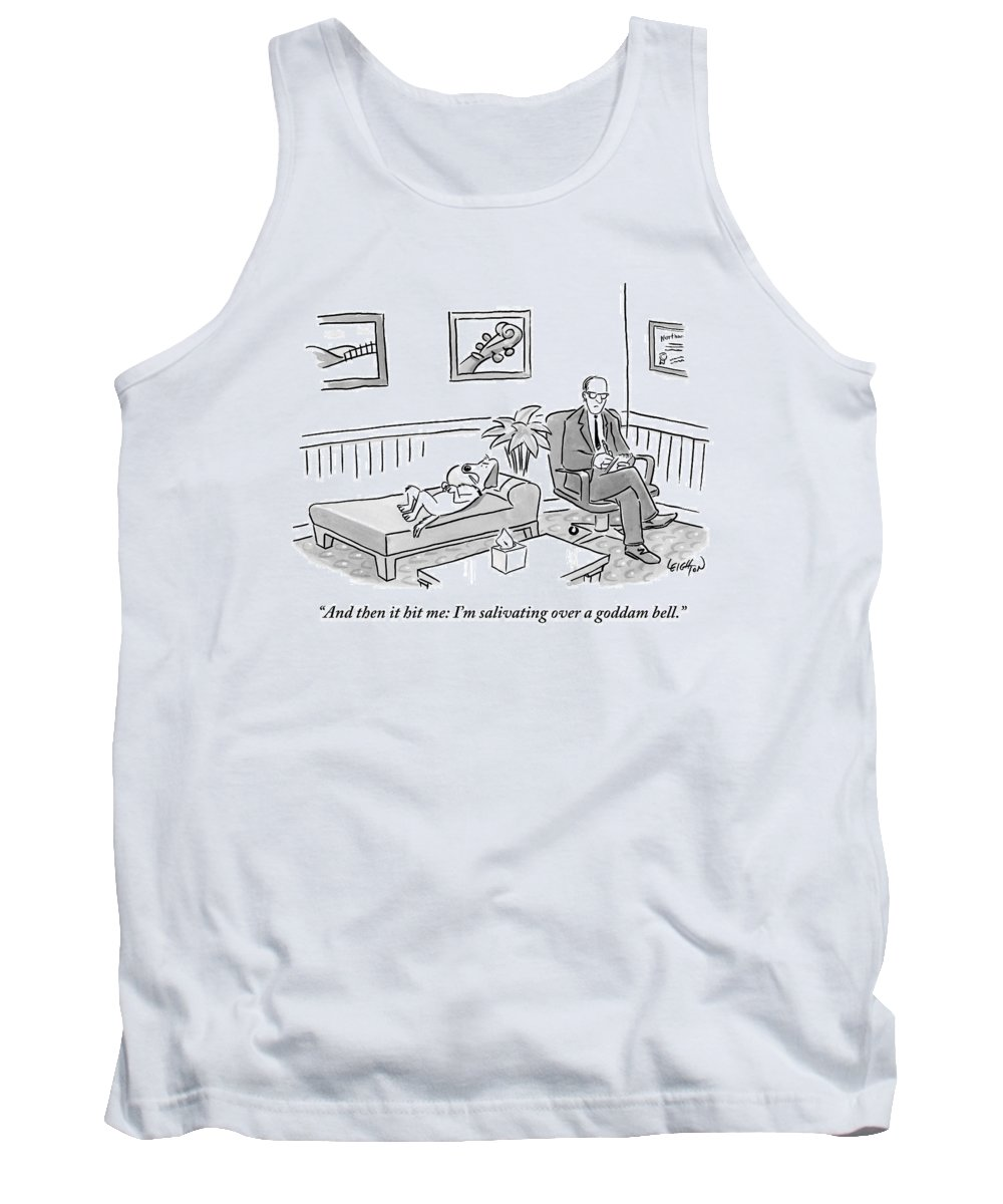Dogs - Food Tank Top featuring the drawing A Dog Lies On The Bed In A Psychiatrist's Office by Robert Leighton