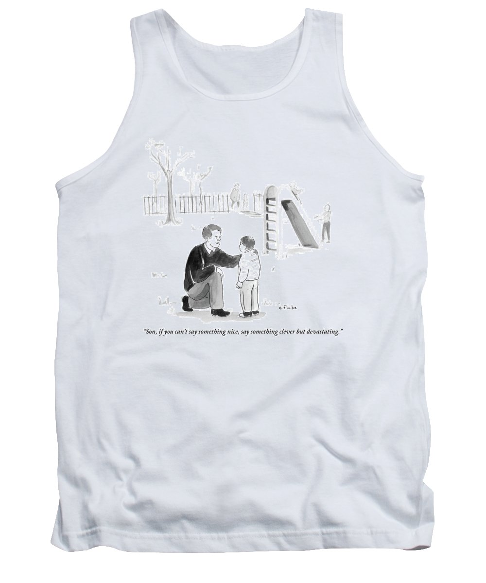 Advice Tank Top featuring the drawing A Father Encourages His Son At The Playground by Emily Flake