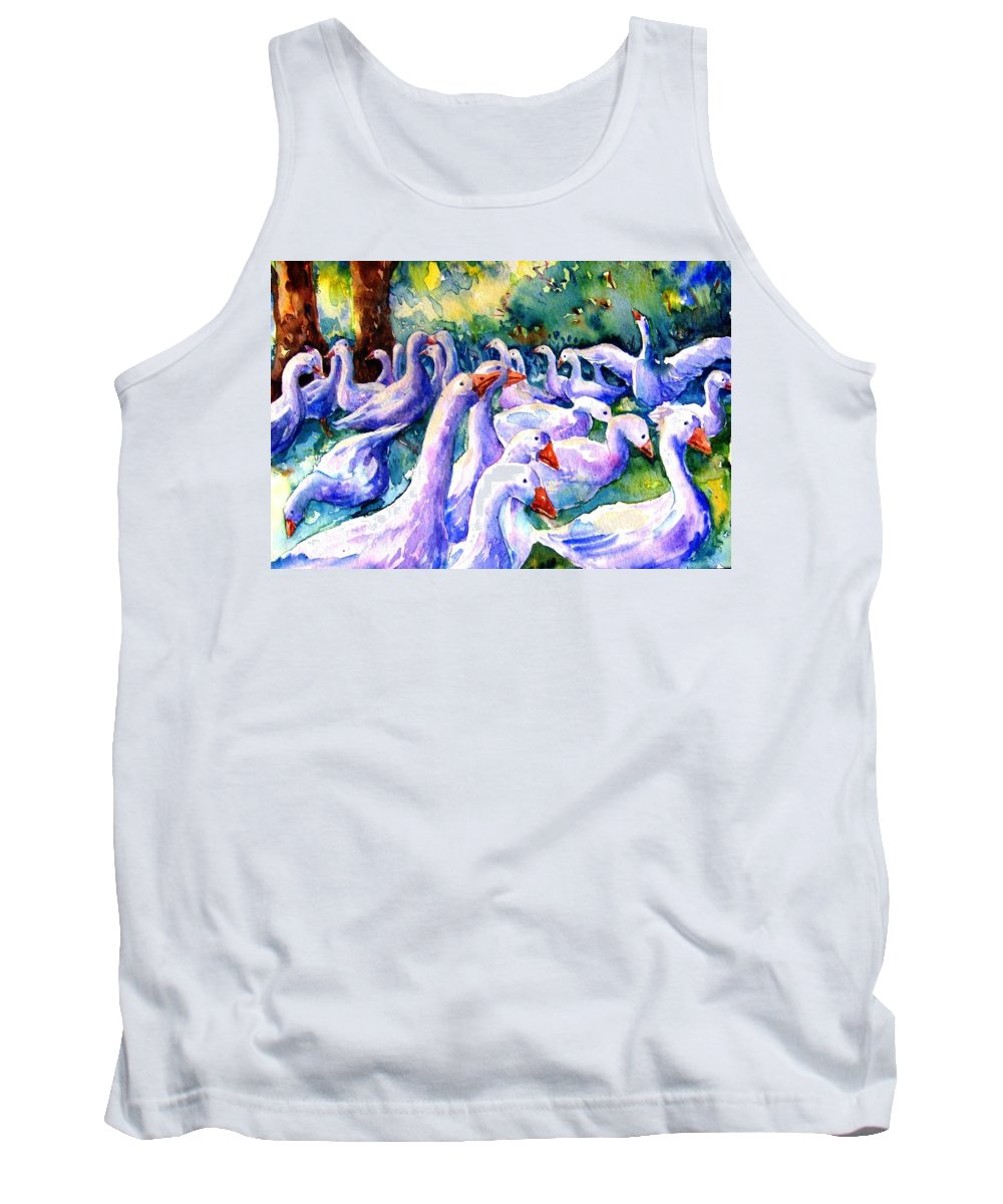 Goose Tank Top featuring the painting A Gaggle Of Geese by Trudi Doyle