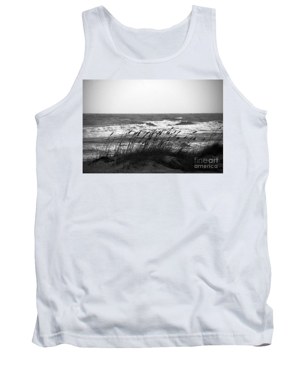 Waves Tank Top featuring the photograph A Gray November Day At The Beach by Susanne Van Hulst