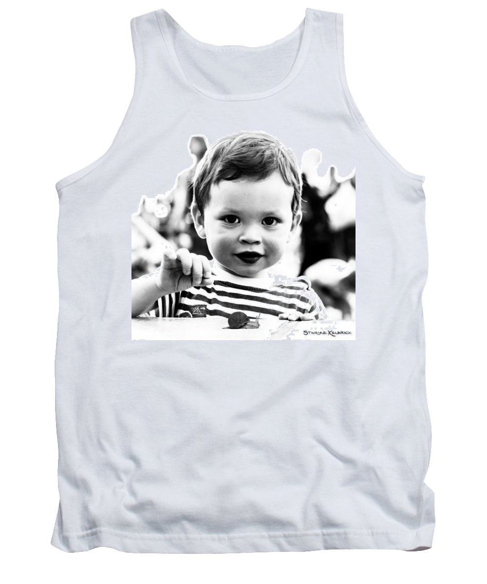 Portrait Tank Top featuring the photograph A Kid Playin' With A Snail by Stwayne Keubrick
