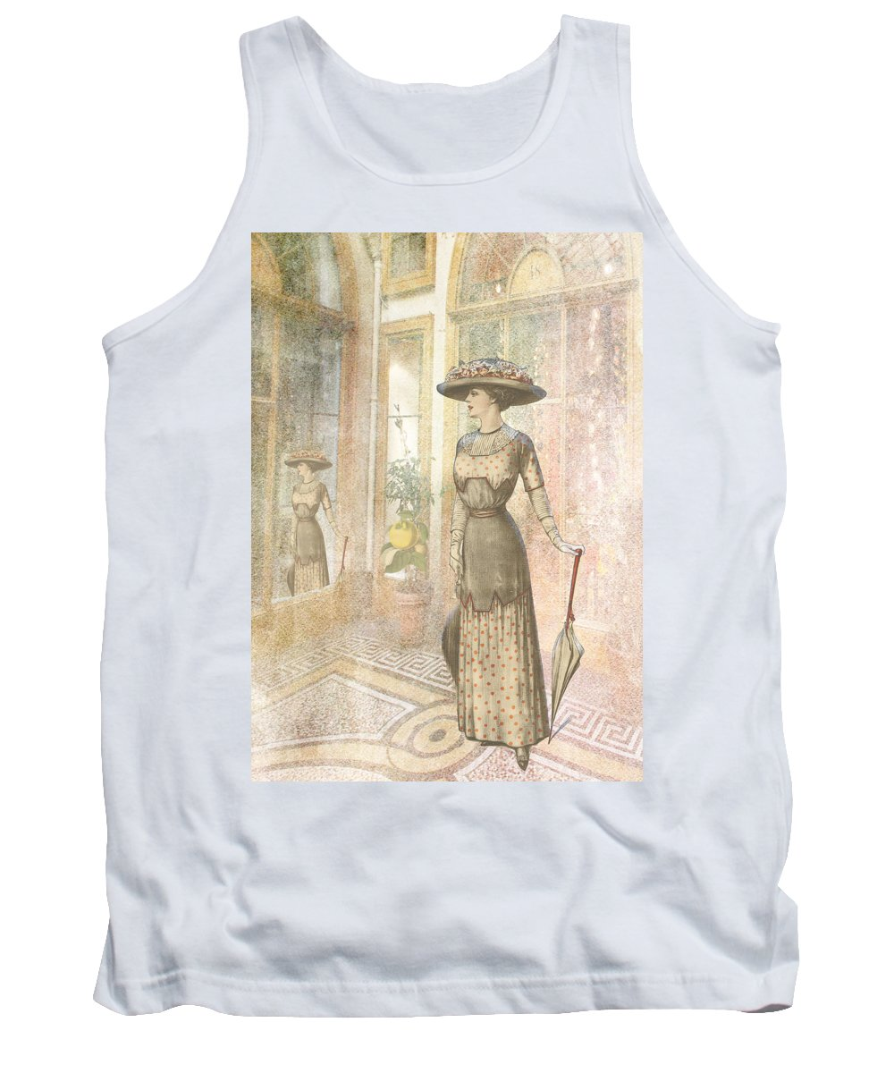 Lady Tank Top featuring the digital art A Lady's Curious Reflection by Sarah Vernon